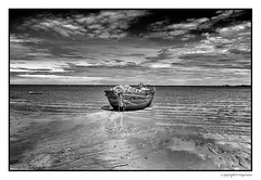 Abandoned and Decaying (FimRay) Tags: blackandwhite bw monotone monochrome abandoned decay decaying old wood wooden fishing boat boats thai thailand asian marine dramatic skyskies sea ocean