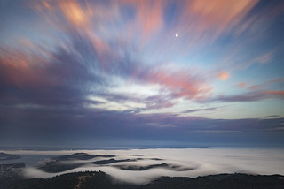 fog and moon from mount tam