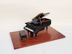 Grand Piano (Robert4168/Garmadon) Tags: lego piano grand interior bench gold brown red tan abs round keys black ring absround24 pedal opentop
