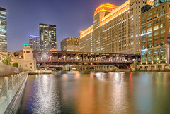 Eureka!  I Found Gold! (tquist24) Tags: chicago chicagoriver chicagoriverwalk clarkstreetbridge hdr illinois nikon nikond5300 outdoor bluehour bridge city cityscape downtown evening geotagged gold lights longexposure reflection reflections river sky skyscrapers water unitedstates