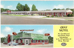 Towne House Restaurant and GRAY MOTEL - 1960 (Brett Streutker) Tags: restaurant cafe diner eatery food hamburger cheeseburger eat fast macdonalds burger vintage colonel sanders kentucky fried chicken big mac boy french fries pizza ice cream server tip money cash out dining cafeteria court table coffee tea serving steak shake malt pork fresh served desert pie cake spoon fork plate cup drive through car stand hot dog mustard ketchup mayo bun bread counter soda jerk owner dine carry deliver towne house gray motel 1960