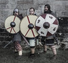 Three vikings behind shields (RedPlanetClaire) Tags: vikings armour shields swords reenactors stafford castle soldiers history medieval historic