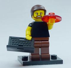Brick Yourself Custom Lego Figure Happy Uni Student with Laptop and Frisbee