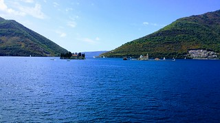 St. George and Our Lady of the Rocks. The coast of Perast in Bay of Kotor, Montenegro