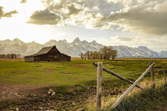 Mormon Row with the Teton Mountain Range. (matthewholzhauer) Tags: mormonrow tetons grandtetonnationalpark sonyhoneymoon2014