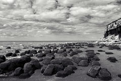 Clouds & Rocks (Chris Goodacre) Tags: hunstanton eastcoast chrisg35mm panasoniclumixdmclf1 monochrome photoscape