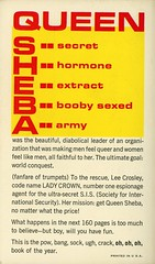 Belmont Books B50-718 - Bob Tralins - The Chic Chick Spy (back) (swallace99) Tags: belmont vintage 60s spy satire paperback queensheba