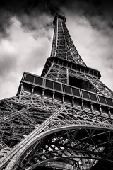 vision differente (glookoom) Tags: france perpesctive bnw metalic noperson eiffeltower architecture monochrome paris cloud bw migne outdoors eiffel tower blackandwhite sky dramatic ngc