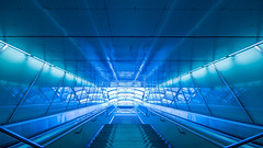 The way up (hjuengst) Tags: underground subway stairs blue light symmetry munich dülferstrasse ubahn