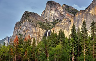 Bridalveil Fall with the Nearby Towering Peaks of Cathedral Rocks (Yosemite National Park)