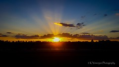 Sunset with Crepuscular Rays! (K.Yemenjian Photography) Tags: sunlight sunbeam sunset landscape augusta augustaga southeast skyline sky clouds crepuscularrays samsunggalaxys6 samsung galaxys6 mobilephone highway interstate i520 bluesky sun east