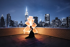 Summer flavored city scape <3 (ericpare) Tags: lightpainting nyc cityscape rooftop rooftopping