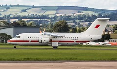 A9C-BDF Bahrain Defence Force British Aerospace Avro RJ85 @ Exeter Airport, Devon. (Sw Aviation) Tags: a9cbdf bahrain defence force british aerospace avro rj85 exeter airport devon avgeek airplane planes flight flying sky trees blue red white
