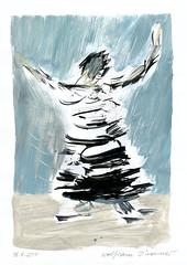 Wolfram Zimmer: Dancing - Tanz (ein_quadratmeter) Tags: wolframzimmer bilder kunst malerei gemälde wolfram zimmer konzeptkunst objektkunst mein freiburg burg birkenhof kirchzarten ausstellung ausstellungen peinture exhibition exhibitions zeichnung tusche besen ink broom besom