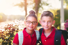 5th Grade (Rebecca812) Tags: firstdayofschool schooluniforms school childhood eyeglasses boy girl twins brother sister family outdoors morning smiling happiness growth canon people mybabies