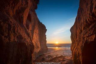 Lever du jour sur les rochers de la Dune du sud