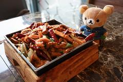 Rilakkuma (リラックマ) Trying Taiwanese Cuisine - Fried shredded pork with cuttlefish (客家炒め)(客家小炒) (TOTORORO.RORO) Tags: rilakkuma リラックマ food drink relaxing sony a7ii ilce7m2 samyang rokinon 35mm f28 fe mount fullframe jeans jean taiwanese chinese spicy tofu pork squid cuttlefish