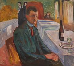Edvard Munch, Self-Portrait with a Bottle of Wine, 1906, SFMOMA (Sharon Mollerus) Tags: edvardmunchbetweentheclockandthebedexhibit sfmoma sanfranciscomuseumofmodernart sanfrancisco california unitedstates us cfpti17