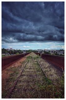 Grand line #colors #perspective #clouds #sky #rails #train