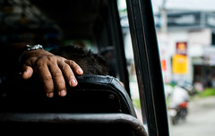 Hold On (relishedmonkey) Tags: nikon d5300 colour hands hand fingers holding travel vehicle seat design blue outside india kerala 35mm man person city