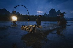 Preparing... (Syahrel Azha Hashim) Tags: nikon iconic portrait outdoor lantern paddle 11mm nature dawn unique shirtless handheld river shallow holiday raft simple colors 2014 chinese details portraiture dramaticsky dark bluehour humaninterest trip local tokina ultrawideangle symbiotic traditional guilin shadow bamboo d300s dof liriver conventional getaway oneperson birds detail colorimage vacation destination china bambooraft fishermen naturallight mountains colorful fishing cormorants travel syahrel fisherman clouds relationship hat traveldestination light beautiful mountain