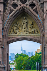 Gate to the City (street level) Tags: historicgreenwoodcemetery architecture iamtheresurrection archway nyc freedomtower downtown manhattan brooklyn architecturalphotography newyorkcity basrelief gothic gothamist