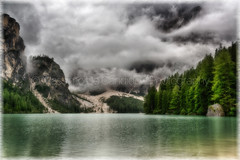 """Pragser Wildsee (""""Max Deca"""") Tags: lake braies pragserwildsee beautiful blue clouds europe fjord forest green high hill holiday landscape mountains natural nature nobody outdoor park people power reflection scenic sky space sport spring summer surface tourism rainy morning storm trees wave fish fishing vacations travel discovery unesco worldheritage cloudsstormssunsetssunrises"""