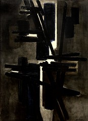 IMG_2523 Pierre Soulages. 1919.   Composition 1951.   Turin Galleria d'Arte Moderna e Contemporanea (jean louis mazieres) Tags: peintres peintures painting musée museum museo italie turin torino galleriadartemodernaecontemporanea