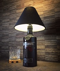 Brockmans Gin bottle lamp upcycled (Wattbottles) Tags: steampunk retro rustic decor upcycled crafts handmade etsy lamp light lighting interior design gift present bottle mancave decoration art creative brockmans gin black