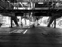 Chicago, Illinois (duaneschermerhorn) Tags: black white blackandwhite blackwhite bw noire noir blanc blanco schwartz weiss subway el elevated chicago illinois street people tracks train