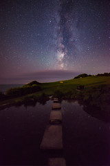 WhereIlive-havelived2...Step across the stars to heaven. (wes_f_hunt) Tags: milky way ventnor isle wight wide field astrophotography water reflection stars pond steps nikon d800 14mm samyang f28 full frame colour long exposure multi image stack
