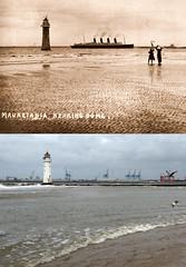 RMS Mauretania passing New Brighton, 1900s and 2017 (Keithjones84) Tags: birkenhead wallasey merseyside wirral thenandnow rephotography newbrighton