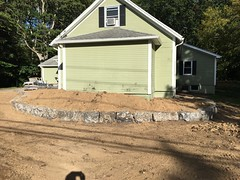 Front porch and walkway almost complete (deroller) Tags: landscaping hardscaping landscape rocks boulders dolomite limestone plantings lighting volt cumberland bay patio front yard remake
