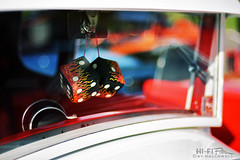 Flamin' Dice (Hi-Fi Fotos) Tags: rearview mirror fuzzy dice flames hotrod accessory window custom car detail fun attitude bokeh 50mm 14 nikon d7200 dx hififotos hallewell