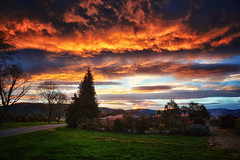 South Island Sunset (Kevin_Jeffries) Tags: southisland newzealand sunset red sky clouds landscape kevinjeffries nikond7100 nikkor1685mm hills nature green spring trees weather firesky wow spectacular canterbury season sunny