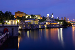 End of summer blues ... (joscelyn_p) Tags: philadelphia philly visitphilly pa pennsylvania canon lightroom longexposure bluehour twilight evening dusk museumofart architecture skyline buildings
