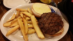 Hamburger and Fries (Adventurer Dustin Holmes) Tags: 2017 fries frenchfries burger hamburger plainhamburger meat coltonssteakhousegrill coltonssteakhouseandgrill coltonssteakhouse springfieldmo springfieldmissouri dinner supper lunch