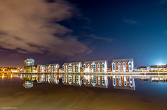 Riverfront  Reflections (andyp178) Tags: river usk reflection tide night stars cloud buildings newport wales tokina 1116 longexposure
