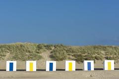 Six beach huts (Jan van der Wolf) Tags: map17287v strand strandhuisjes beachhuts dunes duinen beach landscape landschap yellow geel blue blauw cadzand zand sand six zes 6