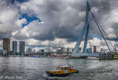 Bridge in City center (CapMarcel) Tags: bridge city center erasmus during port event 2017 connects north south rotterdam cloudy skies present marking weather change tugs patrol vessels