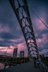 Here comes the Rain (Greg David) Tags: toronto ontario canada ca humber humberbay humberbaypark humberbridge humberbayarch bridge sunset clouds sky stormclouds buildings architecture