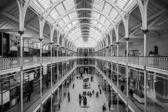 Grand Gallery (McQuaide Photography) Tags: edinburgh scotland unitedkingdom greatbritain gb uk sony a7rii ilce7rm2 alpha mirrorless 1635mm sonyzeiss zeiss variotessar fullframe mcquaidephotography adobe photoshop lightroom handheld inside indoor interior building city capitalcity angle wideangle pov structure architecture museum nationalmuseumofscotland nationalmuseumsscotland royalmuseumbuilding grandgallery mainhall castiron roof ceiling gallery atrium perspective blackandwhite bw mono monochrome blackwhite lines geometry