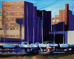 Yachts and Mills (cbreier) Tags: acrylic painting boats boatyard buffalo ny general mills great lakes industrial lake erie paintings waterfront wny yachts