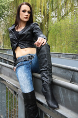 Alexandra 54 (The Booted Cat) Tags: sexy brunette long hair girl model leather tight blue jeans denim jacket overkneeboots overknee boots heels highheels