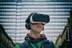 Seeing the reality (»WOLFE«) Tags: oxfam leeds charity vr vrgoggles dystopian streetfundraiser chugger portrait outdoors virtualreality headphones street streetphotography daytime syria war charitable fundraising pinnacle highrise dystopia photoshop nikond600 2017