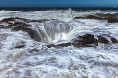 Thor's Well at Cape Perpetua, Oregon (jthight) Tags: hole pacificocean thorswell surf capeperpetua waves nikond810 afzoom2470mmf28g tide oregon sky beach ocean morning oregoncoast july coastline hightide d810 pacific coast florence unitedstates us