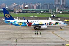 "Mandarin Airlines Boeing 737-8SH(WL) ""Taichung Flower Expo"" c/s B-18659 (Manuel Negrerie) Tags: mandarin airlines boeing 7378shwl mda tsa spotting taichung flower design airport songshan livery scheme b737 b737800ng taipei city taxiway airplane aircraft ci canon avgeeks"
