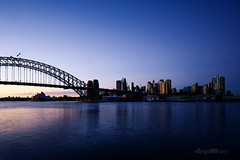Dawn light over the city (14/36 Sydney Harbour Bridge) (astrogirl969) Tags: fujifilm samyang12mmf20ncssc sydney sydneyharbourbridge sydneyoperahouse mcmahonspoint iwps outing outdoor dawn bluehour adobecameraraw acr nikcolorefex4 postprocessed pselements wideangle blue colourcontrast city cityskyline bridge earlymorning silhouette haidandfilters nd8 harbour xe1 20faves 3000views