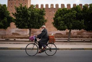 Muslim old man on bicycle, Taroudant, Morocco