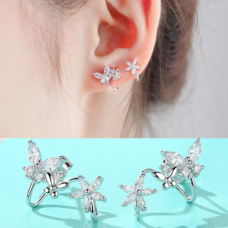 UXUs925 Silver Earrings ear clip non pierced ear jewelry on the Korean minimalist temperament female sweet all-match Earrings
